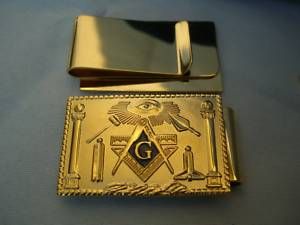 Gold tone Masonic working tools money clip