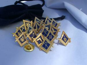 Complete set of 18 Masonic Lodge officer lapel pin