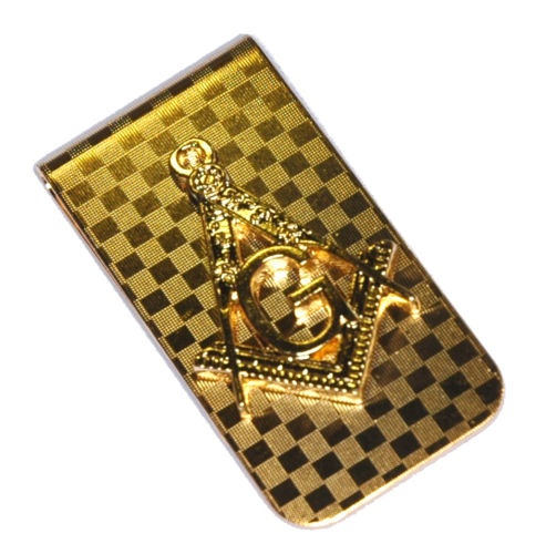 Gold plated Masonic Square & Compass money clip