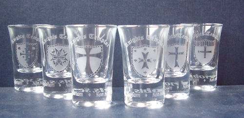 KNIGHTS TEMPLAR FIRING GLASSES - MASONIC - FREEMASONRY
