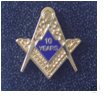 Masonic 10 Years a Mason Enamel Lapel Pin Badge.