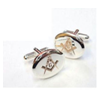 Engraved silver Masonic G Cufflinks.