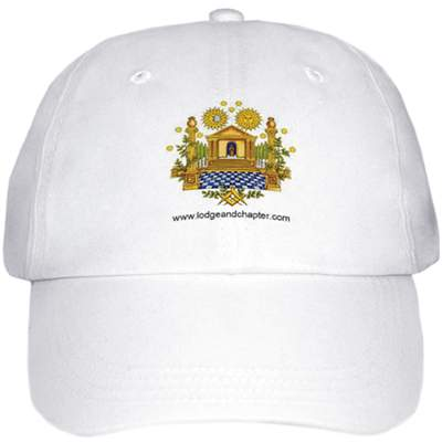 White Baseball Cap with Masonic Logo